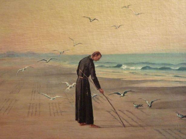 Padre Anchieta escrevendo seu Poema à Virgem by Benedito Calixto (1853-1927)