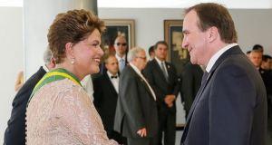 Dilma e Stefan Löfven, primeiro-ministro da Suécia
