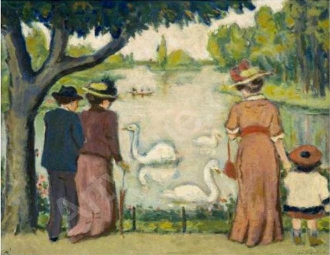 Cisnes no lago do Bois de Boulogne by Auguste Grass-Mick (1873-1963), artista francês