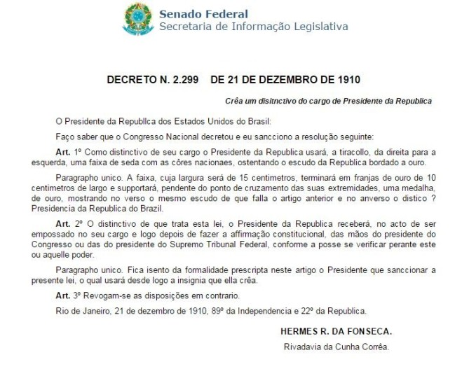 Decreto de 1910 que institui a faixa presidencial.