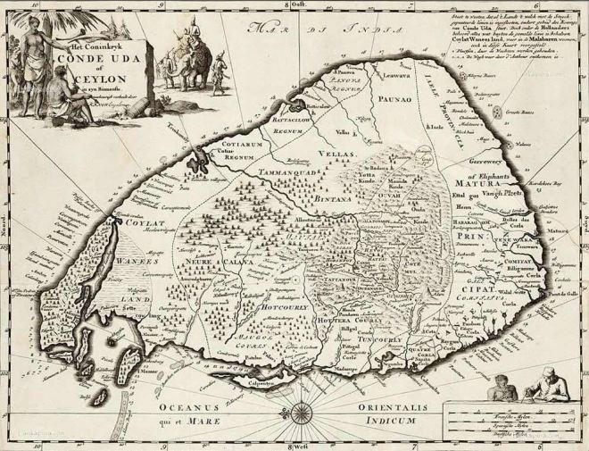 Ilha de Ceilão mapa holandês do séc. XVII