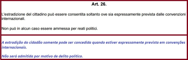 Art° 26 da Constituição da República Italiana Suficientemente vaga, deixa aberta a porta para a extradição de nacionais.