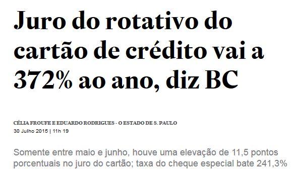 Chamada do Estadão, 30 jul° 2015