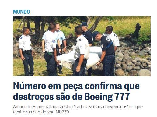 Chamada de O Globo, 31 jul° 2015