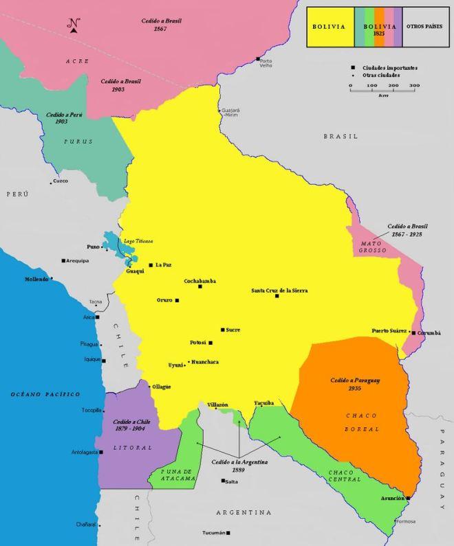 Bolívia - territórios perdidos desde 1867 (clique para aumentar)