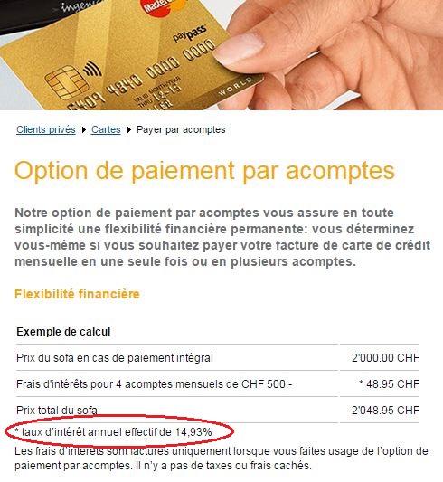 MasterCard  crédito rotativo na Suíça Taxa de juros: 14,93% ao ano