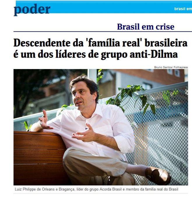 Chamada da Folha de São Paulo, 15 ago 2015