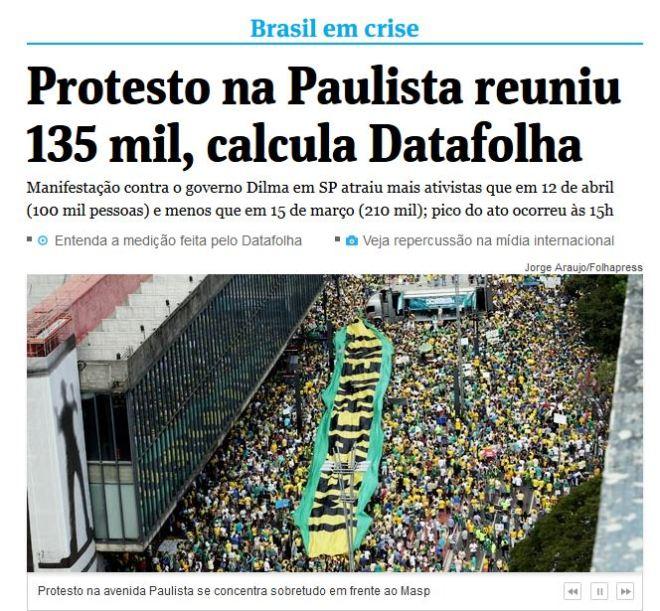 Manchete da Folha de São Paulo 16 ago 2015