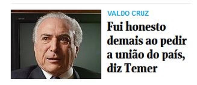 Chamada da Folha de São Paulo, 24 ago 2015