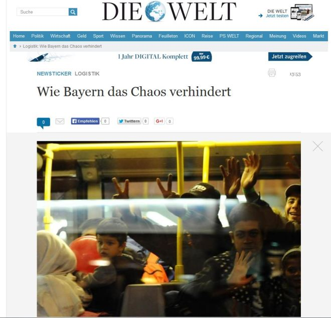 Chamada do alemão Die Welt, 6 set° 2015