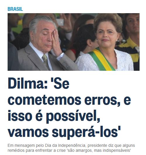 Chamada de O Globo, 7 set° 2015