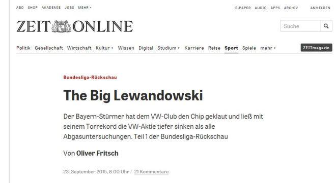Chamada do jornal alemão Die Zeit, 23 set° 2015