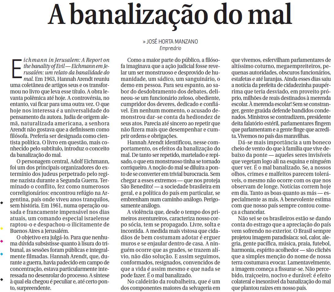 Banalização Do Mal Brasil De Longe