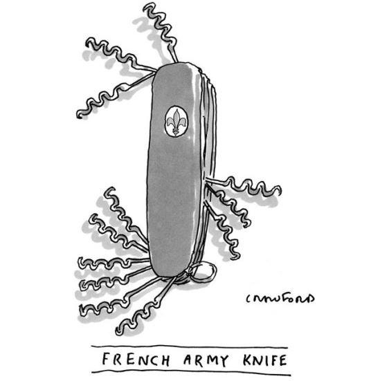 Canivete do exército francês segundo Michael Crawford, desenhista americano