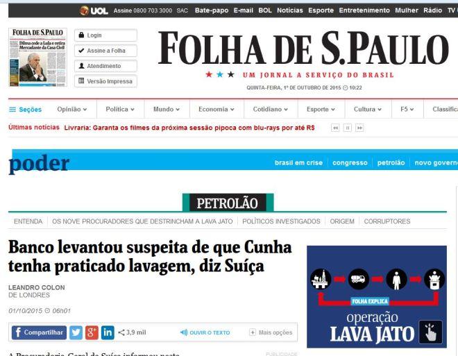 Chamada da Folha, 1° out° 2015