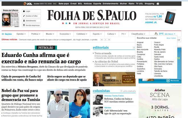 Folha online, 9 out° 2015 – Primeira página