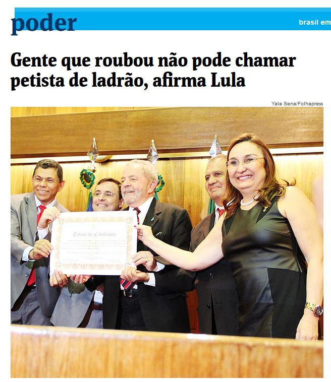 Chamada da Folha de São Paulo, 22 out° 2015