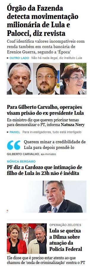Chamada da Folha de São Paulo, 31 out° 2015