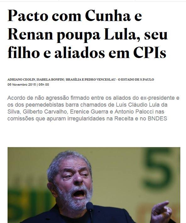Chamada do Estadão, 6 nov° 2015
