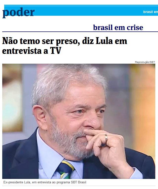 Chamada da Folha de São Paulo, 6 nov° 2015