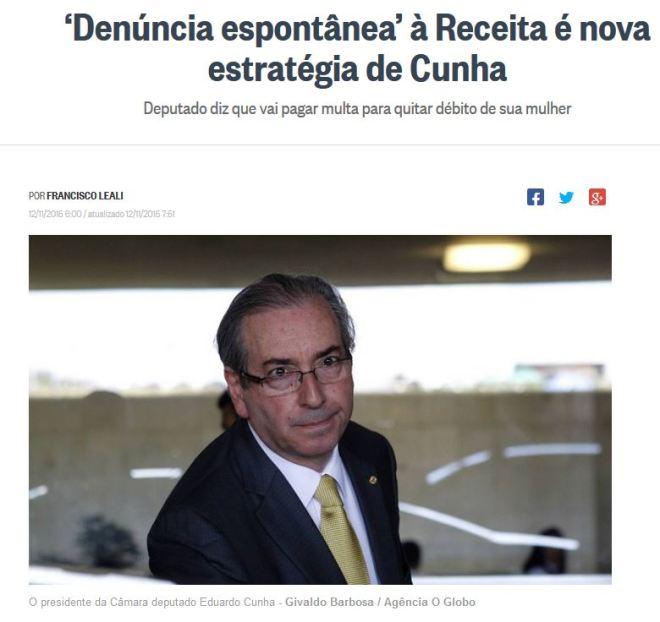 Chamada de O Globo, 12 nov° 2015