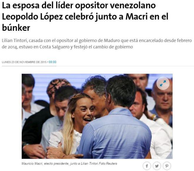 Chamada jornal La Nación, 23 nov° 2015
