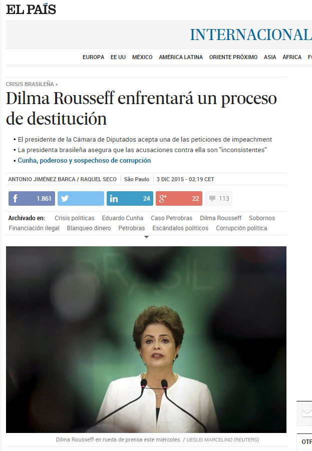 Chamada de El País, Espanha