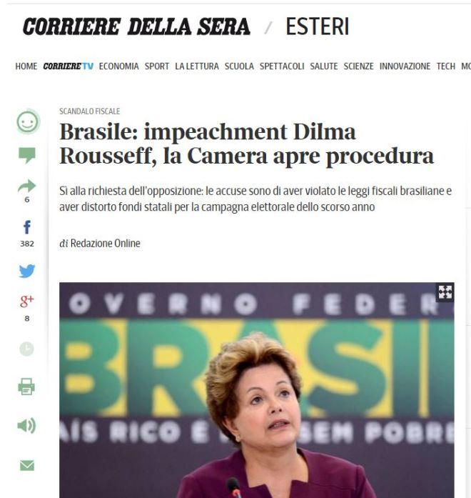 Chamada de Corriere della Sera, Itália