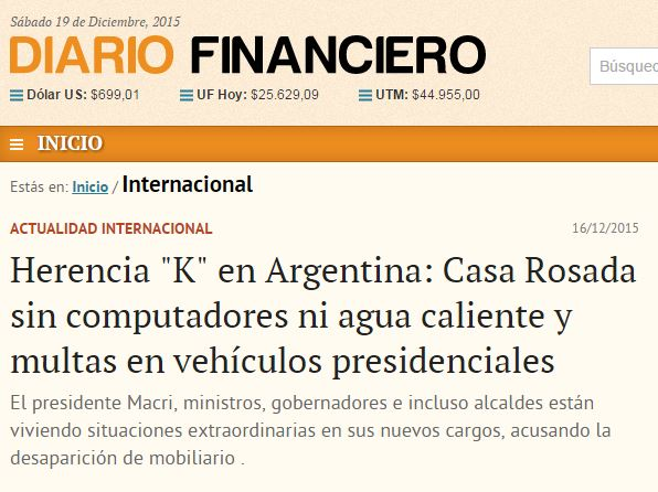 Chamada do Diario Financiero (Chile), 16 dez° 2015