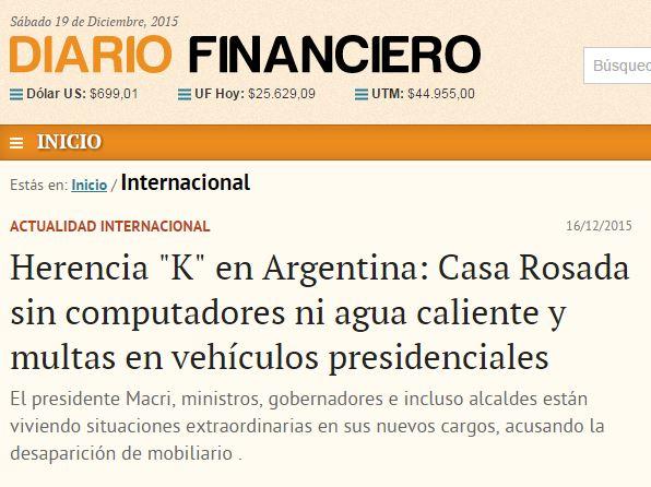 Chamada do Diario Financiero (Chile), 16 dez° 2015