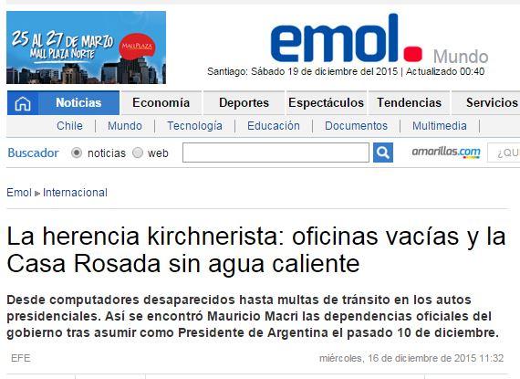 Chamada de El Mercurio (Chile), 16 dez° 2015