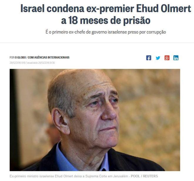 Chamada do jornal O Globo, 29 dez° 2015