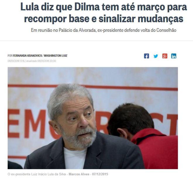 Chamada de O Globo, 6 jan° 2016