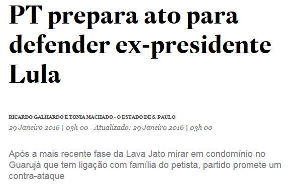 Chamada do Estadão, 29 jan° 2016