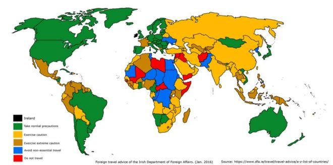 Em verde, os países mais seguros