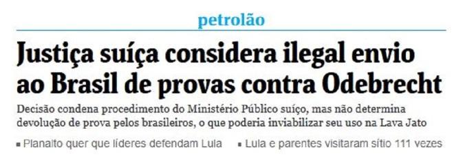 Chamada da Folha de São Paulo, 2 fev° 2016