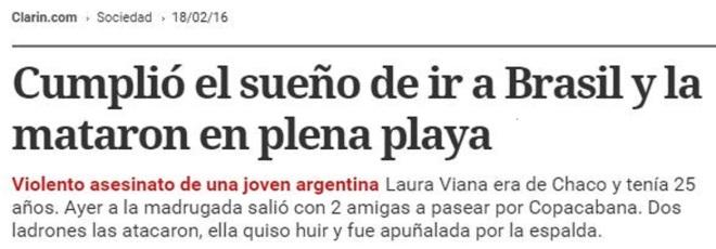 Chamada do argentino Clarín, 18 fev° 2016
