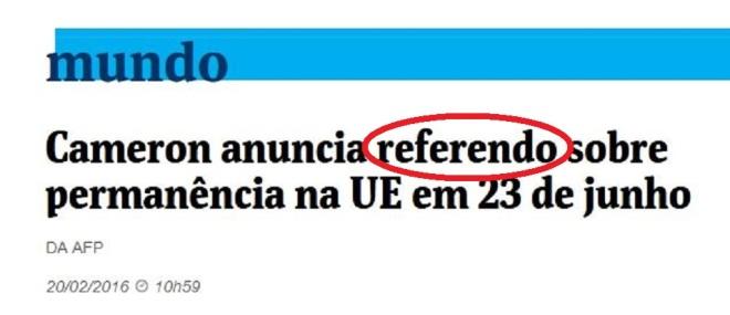 Chamada da Folha de São Paulo, 20 fev° 2016