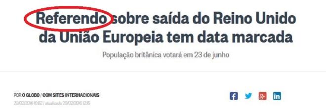 Chamada d'O Globo, 20 fev° 2016