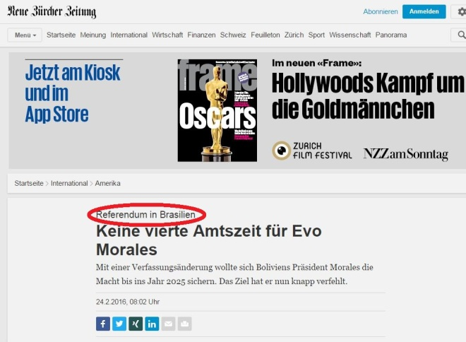 Chamada do jornal suíço Neue Zürcher Zeitung, 24 fev° 2016 Clique para ampliar