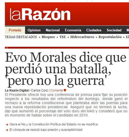 Chamada do jornal boliviano La Razón, 24 fev° 2016