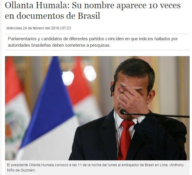 Chamada do jornal Perú21, 24 fev° 2016
