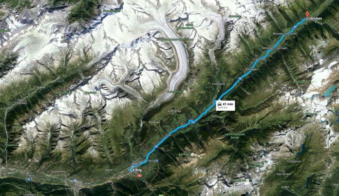 Brig ‒ Ulrichen mapa Google