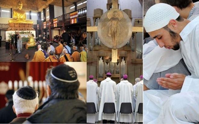 Fotomontagem de ritos religiosos