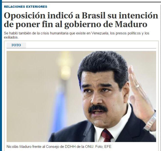 Chamada do jornal uruguaio El Pais