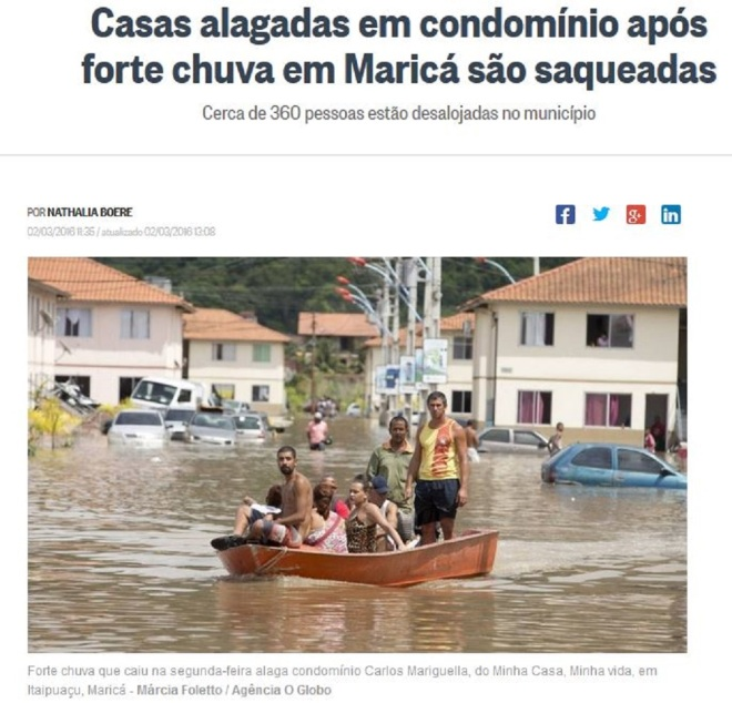Chamada do jornal O Globo, 2 mar 2016