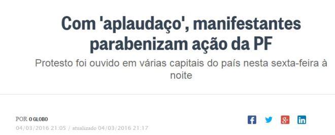 Chamada do jornal O Globo