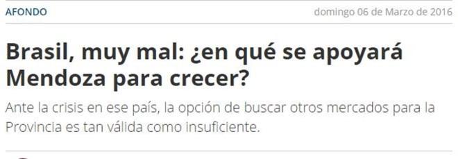 Chamada do argentino Diario Uno, 6 mar 2016