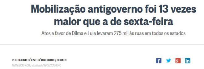 Chamada de O Globo, 19 mar 2016