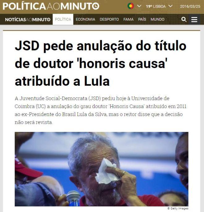 Chamada do portal português Política ao Minuto 25 março 2016